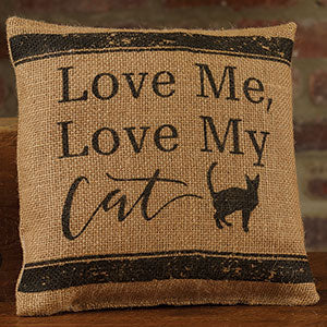 Small Burlap Love/Cat Pillow