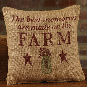 Small Burlap Best Memories Pillow