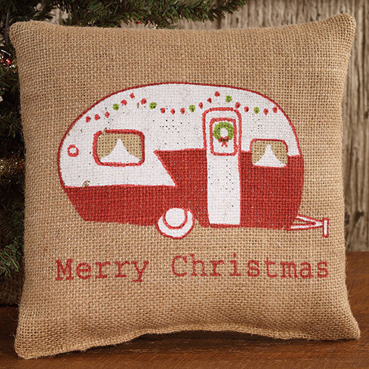 Small Burlap Christmas Camper Pillow