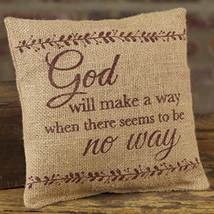 Small Burlap Make a Way Pillow
