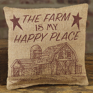 Small Burlap Farm/Happy Pillow