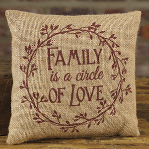Small Burlap Family/Love Pillow