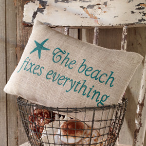 Small Burlap Beach Fixes Everything Pillow