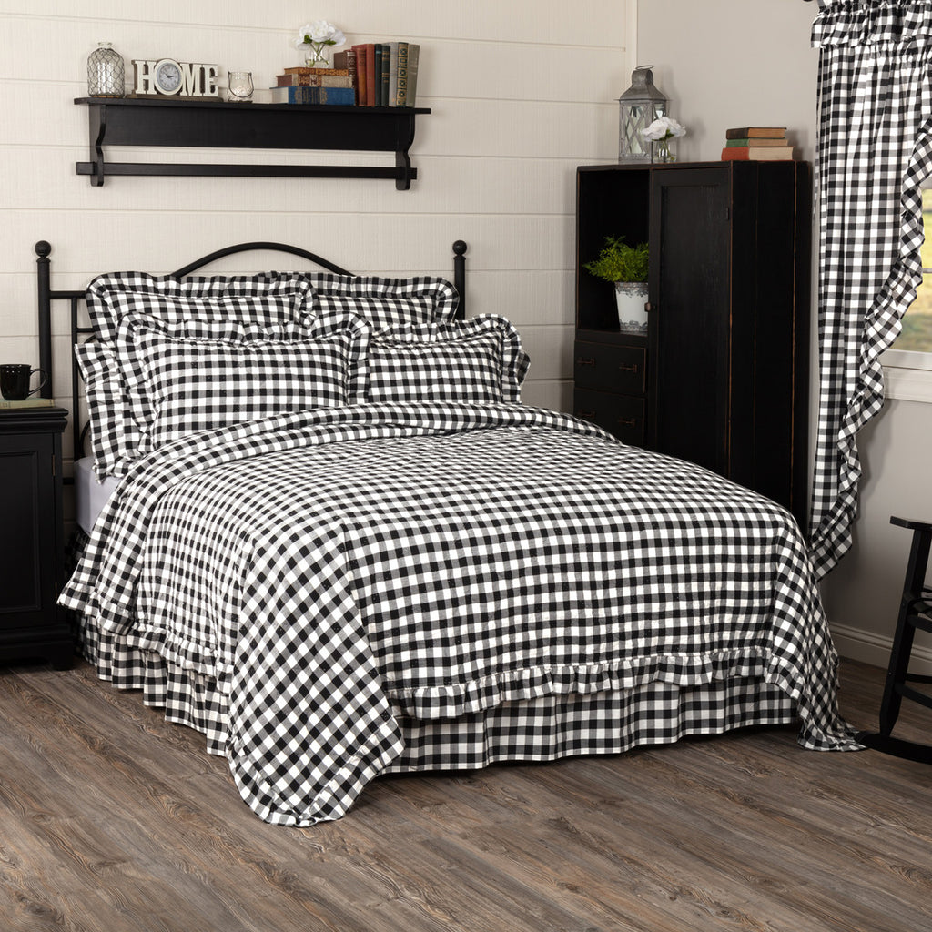 Annie Buffalo Black Check Ruffled Quilt Coverlet