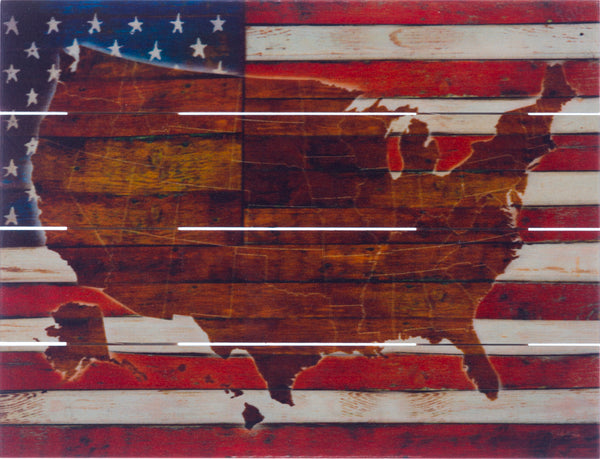 American Flag USA Map - Pallet Art