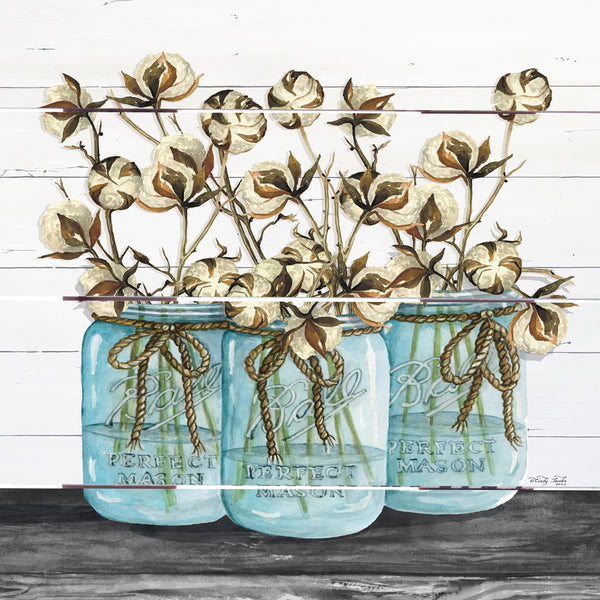 Blue Jars – Cotton Stems Pallet Art
