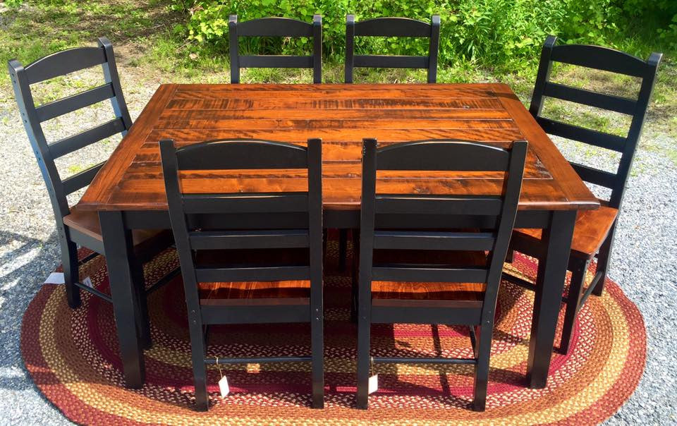 Black Farm Table With A Michaelu0027s Cherry Rough Sawn Top