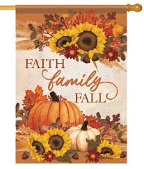 Faith, Family Fall Garden Flag