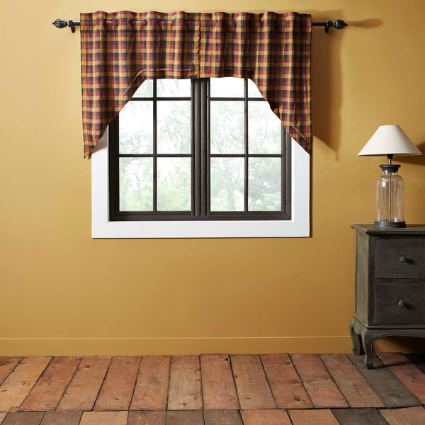 "Heritage Farms Primitive Check Swag Curtain 36"" X 36"" X 16"""