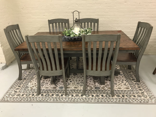 Clifton Solid Top Antique Brown Maple Table & Seating (priced separately)