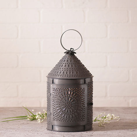 "15"" Fireside Lantern in Blackened Tin"