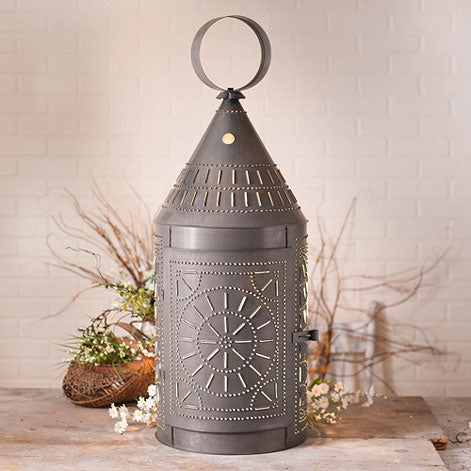 "36"" Tinner's Lantern with Chisel in Blackened Tin"