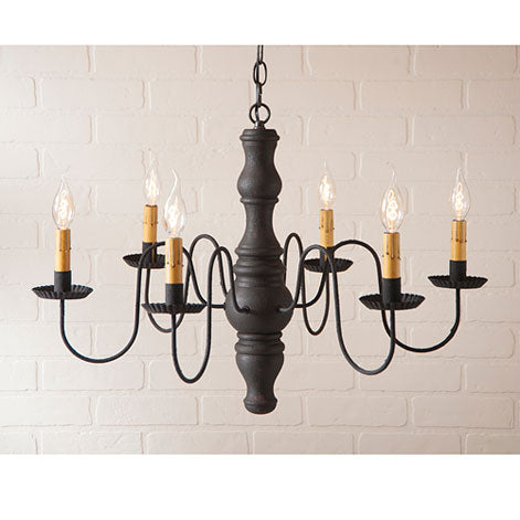 Hartford Gettysburg Wooden Chandelier - Black over Red