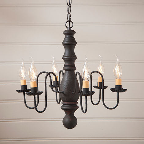 Manssass Wooden Chandelier -Black over Red