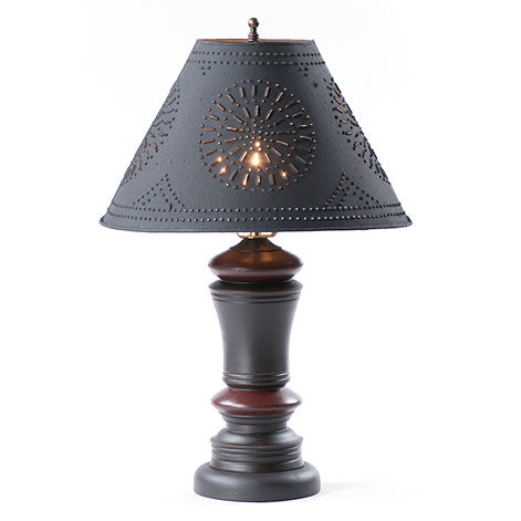 Peppermill Lamp in Black with Tin Shade