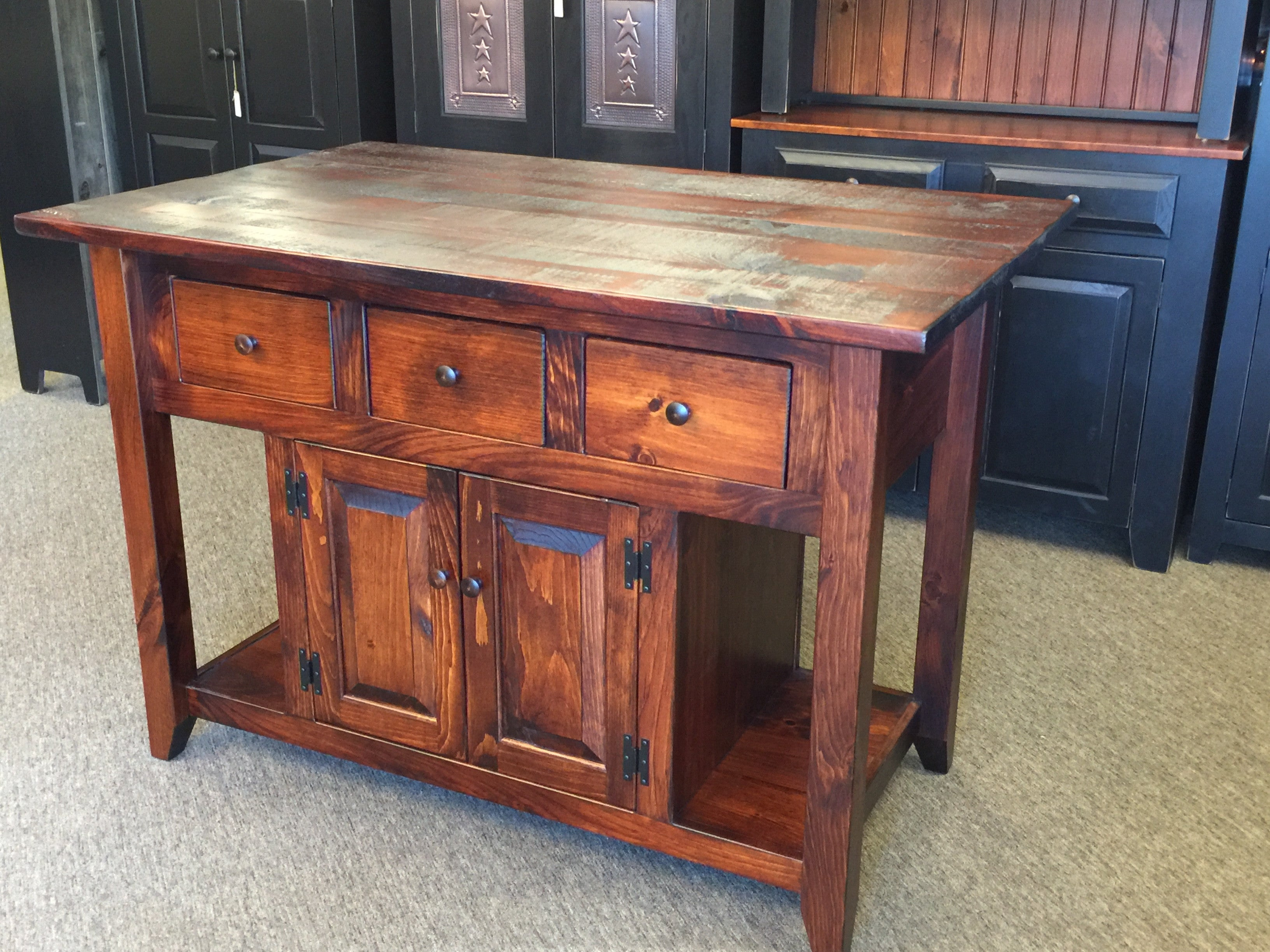 Michael\'s Cherry Kitchen Island with Rustic Top