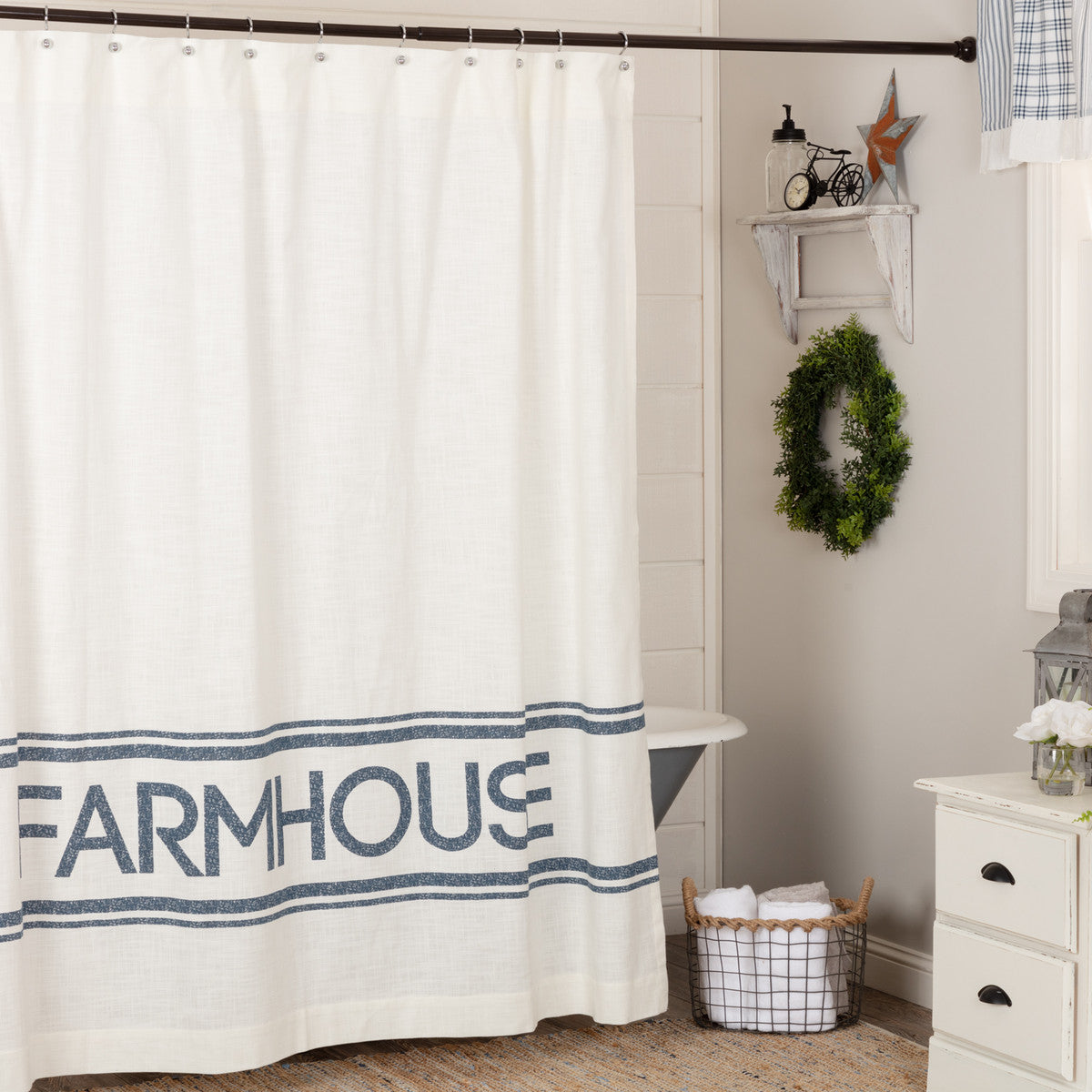Sawyer Mill Blue Farmhouse Shower Curtain Kc Collections