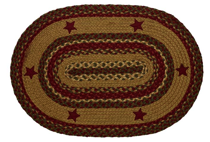 Cinnamon Star Oval Braided Rugs