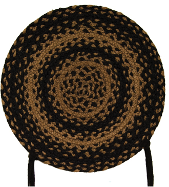 "Ebony 15"" Braided Chair Pad"