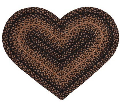 "Ebony 20"" x 30"" Braided Heart Rug"