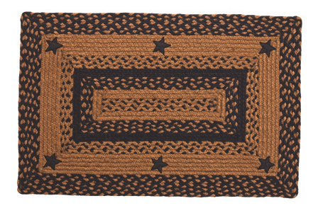 Star Black Rectangle Braided Rugs