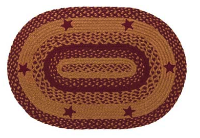 Star Wine Oval Braided Rugs