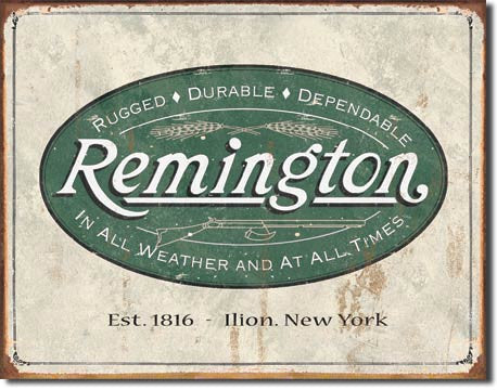REM - Weathered Logo Tin Sign