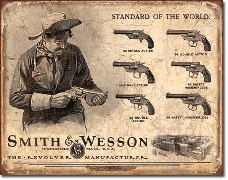 S&W Revolver Manufacturer Tin Sign