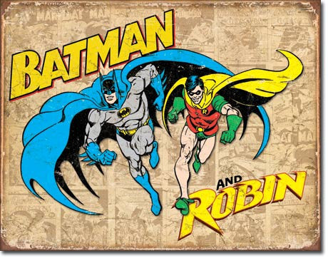 Batman and Robin Weathered Tin Sign