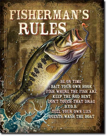 JQ - Fisherman's Rules Tin Sign