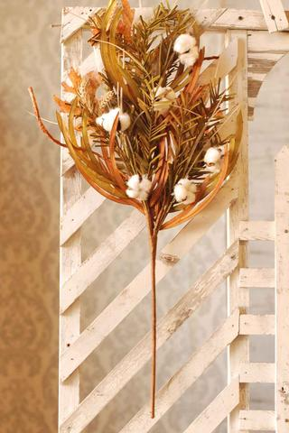 Pine & Wheat Spray with Cotton | 30""
