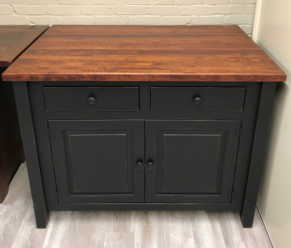 "Island with 32"" Extended Butcher Block Top"