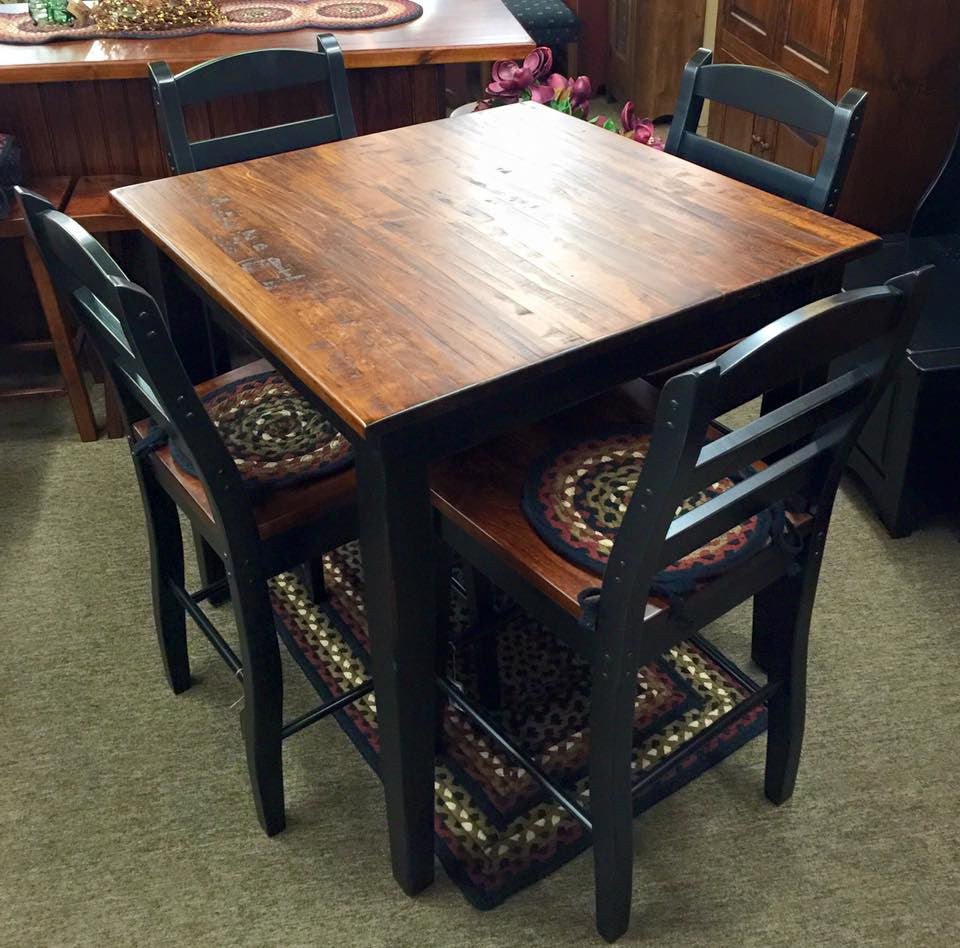 Table 36 X 36 Pub With Rustic Pine Top Kc Collections