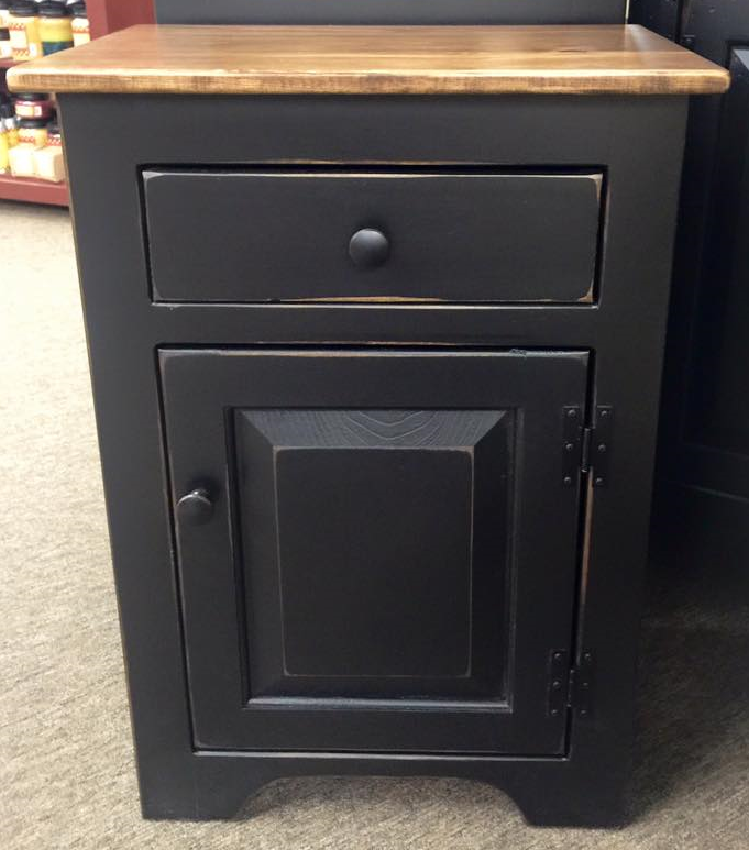 Black Night Stand with a Special Walnut Top, Door & Drawer