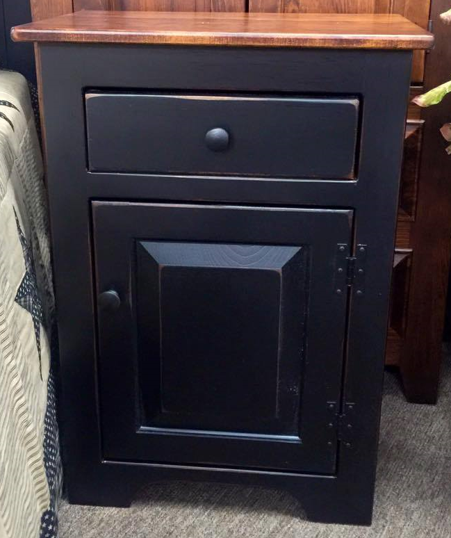 Black Night Stand with a Michael's Cherry Top, Door & Drawer