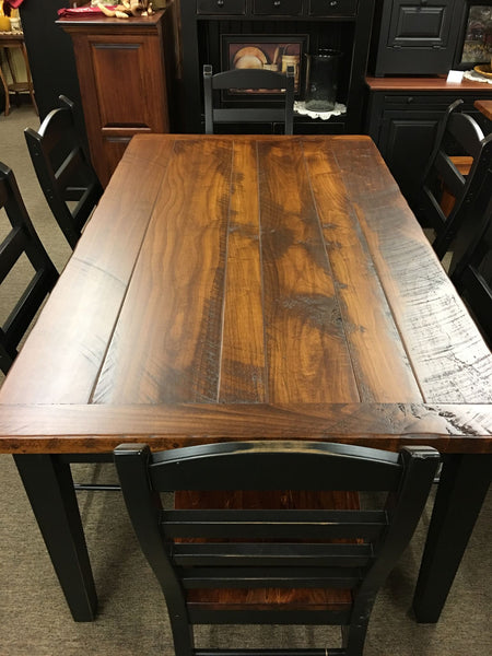 Black 6 Farm Table With Michael S Cherry Rough Sawn Top Kc Collections