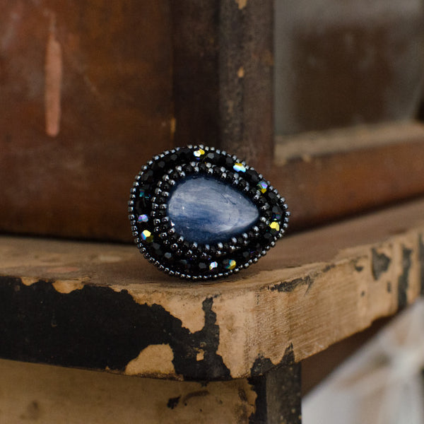 Blue Kyanite Teardrop Ring