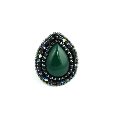 Green Agate Teardrop Ring
