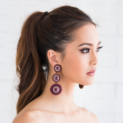 Melanie Triple-Pearl Lilac Earrings