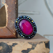 Pink Agate Oval Ring