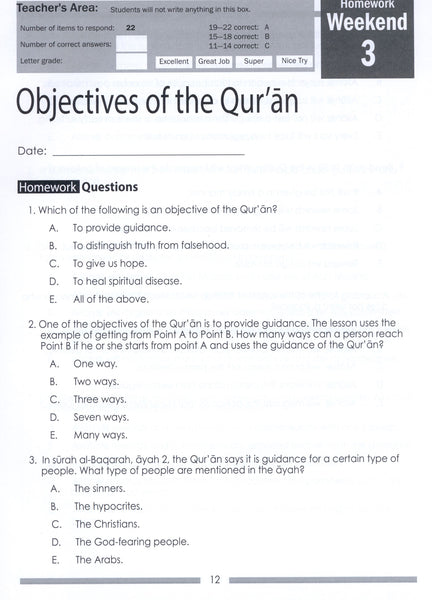 Weekend Learning Islamic Studies Workbook Level 8