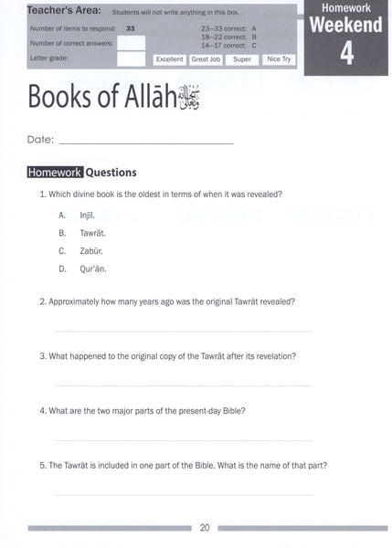 Weekend Learning Islamic Studies Workbook Level 4