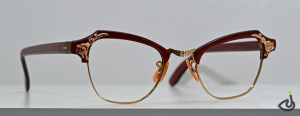 50's Vintage Red & Gold Cateye Frame