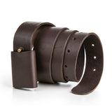 Leather X Hidden Lock Belt (Dark Brown/Black)