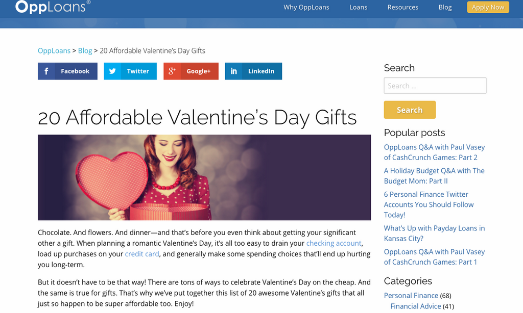 Opp Loans: 20 Affordable Valentine's Day Gifts