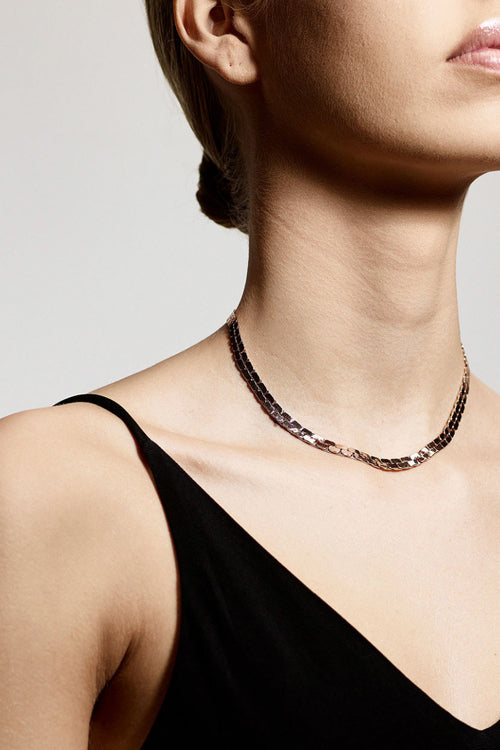 FLAT CHAIN ROSEGOLD PLATED NECKLACE-RG
