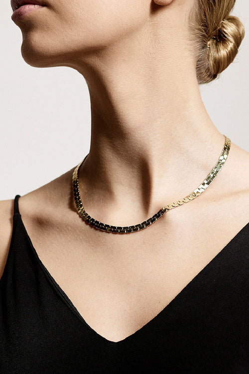 FLAT CHAIN GOLD PLATED NECKLACE-G