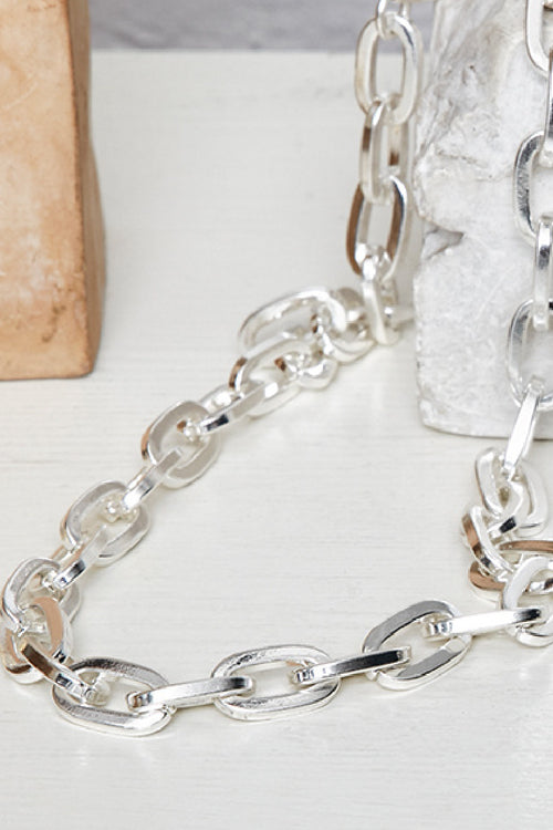 CHAIN LINK SILVER PLATED NECKLACE-S