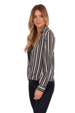 STRIPE WRAP BLOUSE