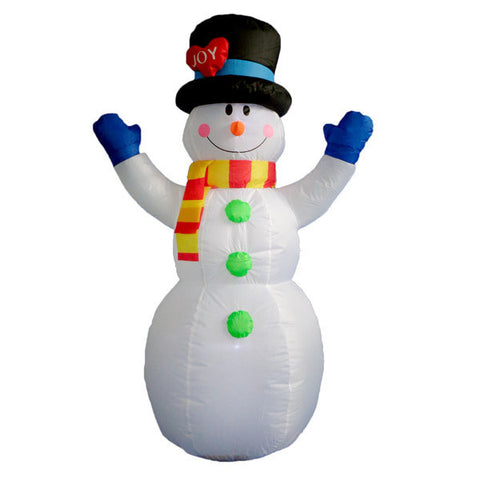Snowman with Blue Gloves Inflatable | All American Christmas Co